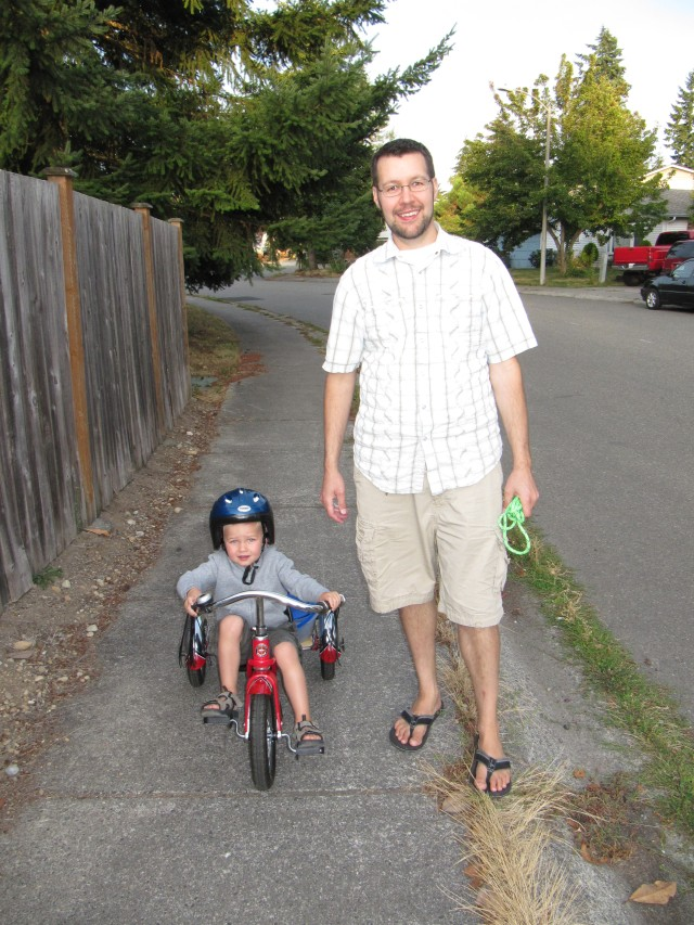 First venture on the trike outside of the condo complex.  He did great!