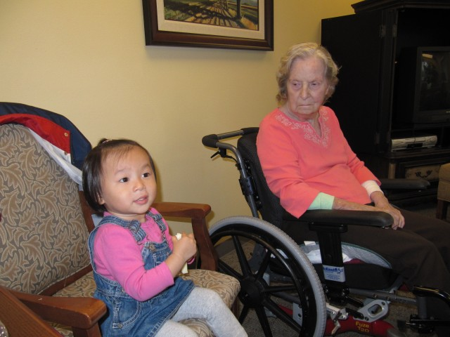 Li Li got to meet Great-Grammi yesterday.