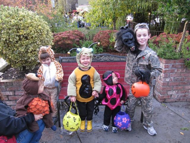 Our trick-or-treating group: owl, giraffe, stinkbug, ladybug and gorilla warfare dude