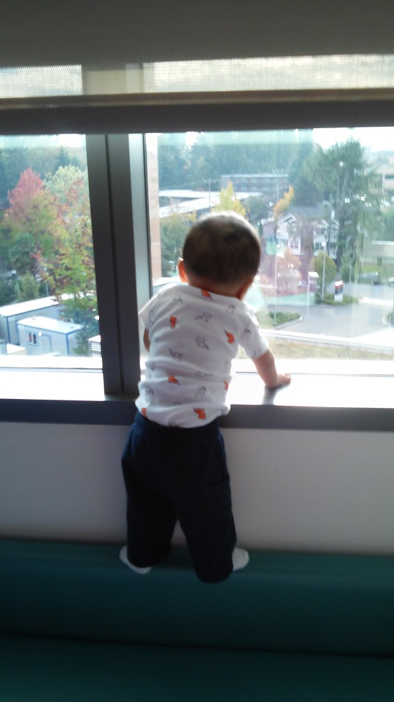 Waiting for Papa to pick us up - he's a climber!